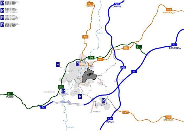Circuito De Vila Real Mapa De Acessos Aos Parques De
