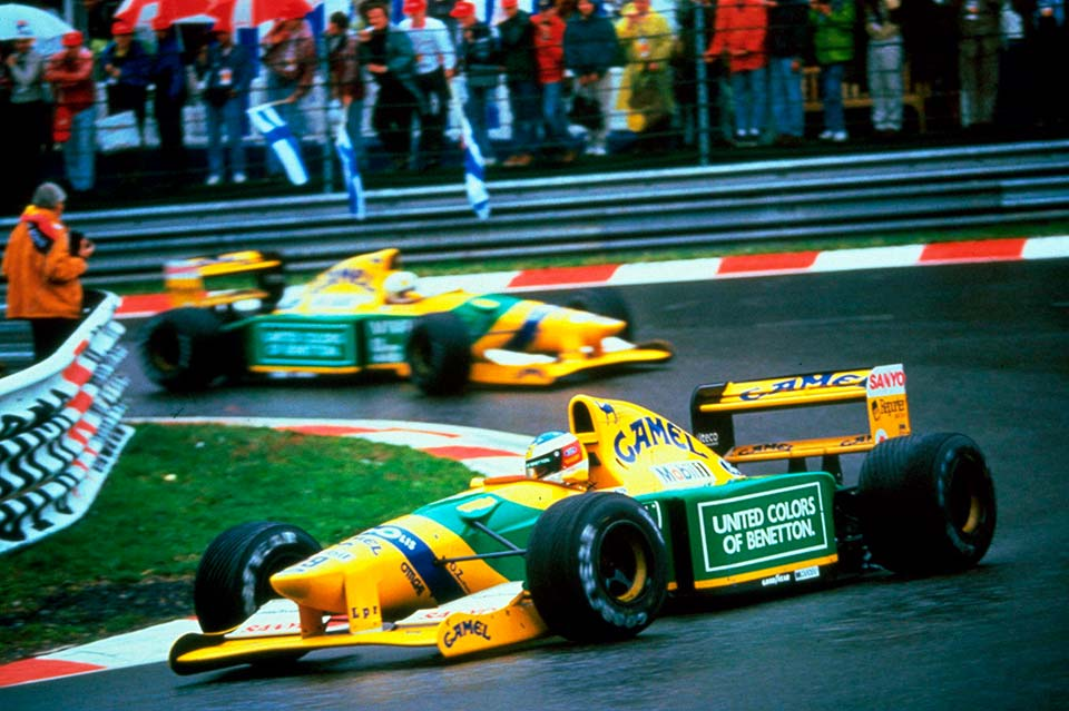 Schumi-1992-Spa,-Belgium-leads-teammate-Martin-Brundle-on-his-way-to-his-first-Grand-Prix-win